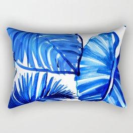Bright Blue Jungle Leaves Rectangular Pillow