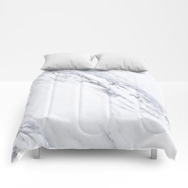White Marble with Classic Black Veins Comforters