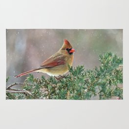 Waiting for Christmas Cardinal Rug