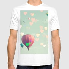 Hot air balloon nursery and heart bokeh on pale blue MEDIUM White Mens Fitted Tee