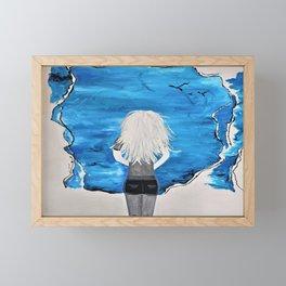 Enticing Interlude. Illustrated for Author Michelle Mankin. Girl Sunset Blue Blonde Sky Framed Mini Art Print
