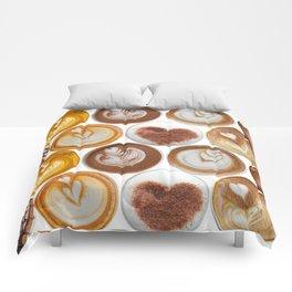 Latte Polka Dots in White Comforters