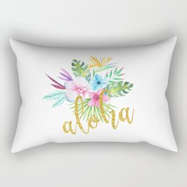 Hawaiian multicolored floral bouquet with faux gold aloha brush script Rectangular Pillow