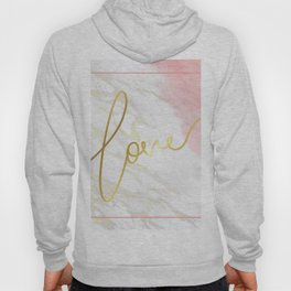 Love | Gold Framed Typography on Pink Water Colour Marble Hoody