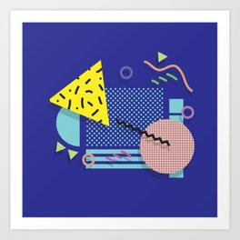 Blue Memphis Art Print