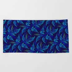 Fern leaves - blue Beach Towel