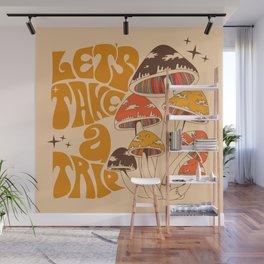 70s Mushroom, Take A Trip, Hippie Boho Wall Mural