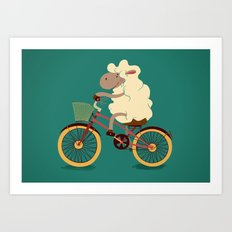 Lamb on the bike Art Print