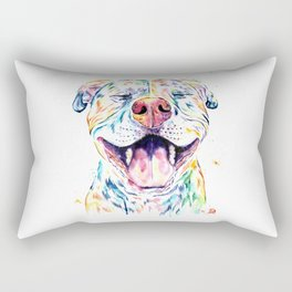 Pit Bull, Pitbull Watercolor Pet Portrait Painting - Tango Rectangular Pillow