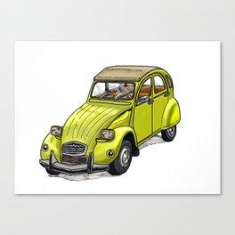Yellow 2CV Canvas Print