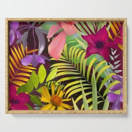 Tropical heaven dark red background  Serving Tray