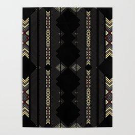 Southwestern Black Diamond Stripe Patterns Poster