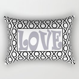 Pantone Lilac Gray LOVE XOs (Hugs and Kisses) Typography Art Rectangular Pillow