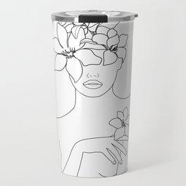 Minimal Line Art Woman with Flowers IV Travel Mug