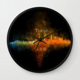 Tokyo City Skyline Hq V4 Wall Clock