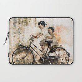 Kids on Bicycle - Reflections of Penang Laptop Sleeve