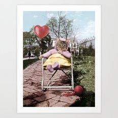 Pretty little Kitty with a heart balloon Art Print