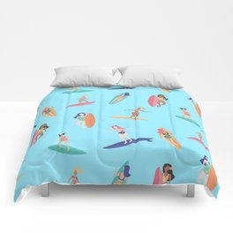 Surfer water sports athlete surfboard pattern Comforters