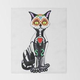 Sugar Skull Kitty Cat Throw Blanket