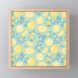 Lemon Pattern Mint Framed Mini Art Print