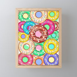 Donuts Punchy Pastel flavours Pattern Framed Mini Art Print