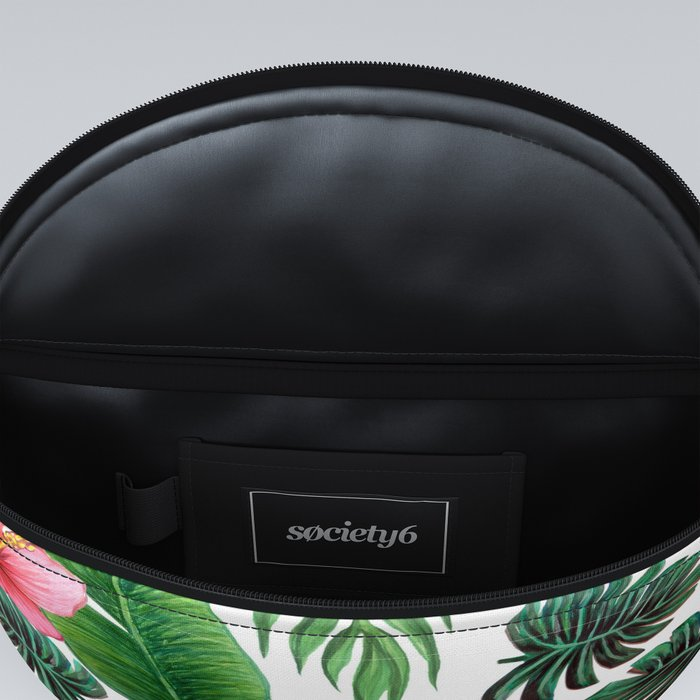 Hibiscus Palm, watercolor flowers and palm leaves Fanny Pack