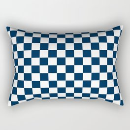 Small Checkered - White and Oxford Blue Rectangular Pillow