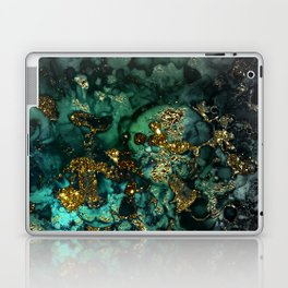 Gold Indigo Malachite Marble Laptop & iPad Skin