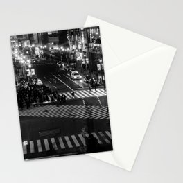 Shibuyacrossing at night - monochrome Stationery Cards