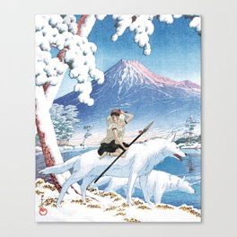 Mononoke and the wolves vintage japanese mashup Canvas Print