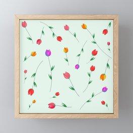 Pattern of tulips. Tulips scattered on the web Framed Mini Art Print