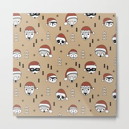 Scandinavian geometric woodland santa indian animals christmas pattern terra cotta red Metal Print