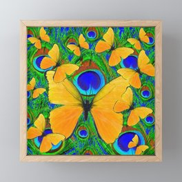 FLUTTERING YELLOW SPRING BUTTERFLIES ON GREEN Framed Mini Art Print