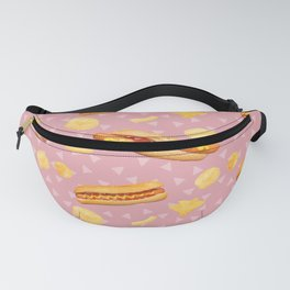 Hot Dogs and Chips - on Pink Fanny Pack