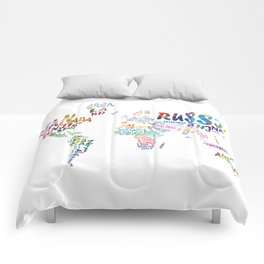 world map watercolor typography 1 Comforters