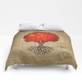 Vintage Tree of Life with Flag of China Comforters