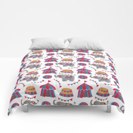 Colorful red blue gray watercolor elephant circus pattern Comforters