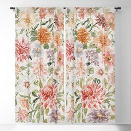 Loose Peachy Dahlia Watercolor Bouquet Blackout Curtain