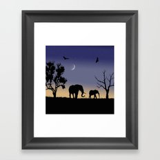 African dawn - elephants Framed Art Print