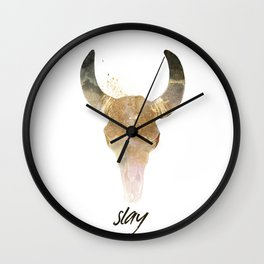 slay deer head in grey and rose gold Wall Clock