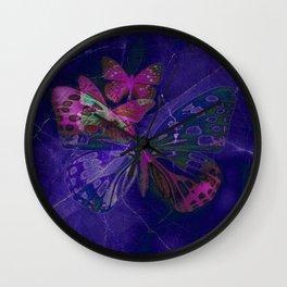 Marble Butterflies Wall Clock