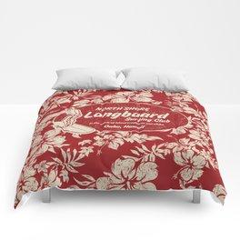 Club Surfing Longboard Surf Logo and Hibiscus Hawaiian Print      Comforters