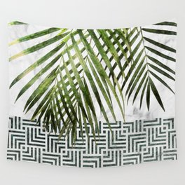 Palm Leaves on White Marble and Tiles Wall Tapestry