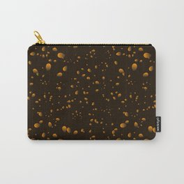 Brown iridescent drops on a black background in nacre. Carry-All Pouch