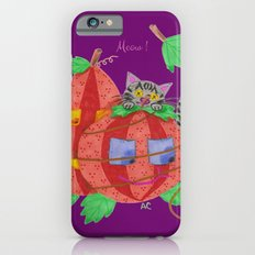 Cat behind pumpkins on a purple background . iPhone 6s Slim Case