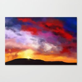 Painting of a landscape with a intense sky Canvas Print