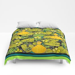 Green Art Nouveau Vines Gourds Floral Teal Art Comforters