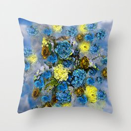 HYDRANGEA AND ROSES Throw Pillow