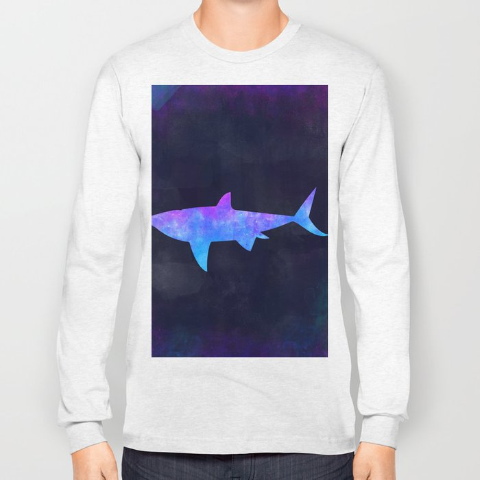 SHARK IN SPACE // Animal Graphic Art // Watercolor Canvas Painting // Modern Minimal Cute Long Sleeve T-shirt