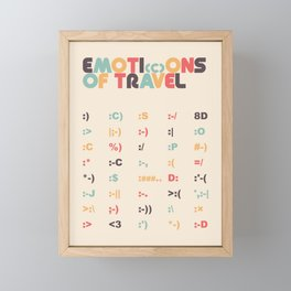 Retro Emoti(c)ons of Travel Typography Poster Framed Mini Art Print